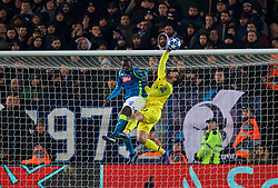 LIVERPOOL, ENGLAND - Tuesday, December 11, 2018: Liverpool's goalkeeper Alisson Becker and Napoli's Kalidou Koulibaly during the UEFA Champions League Group C match between Liverpool FC and SSC Napoli at Anfield. (Pic by David Rawcliffe/Propaganda)