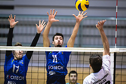Koren Nace of Šoštanj Topolšica, Hodžič Šlejkovec Din of Šoštanj Topolšica and Pulko Zlatko of Panvita Pomgrad in a battle for point during volleyball match between Panvita Pomgrad and Šoštanj Topolšica of 1. DOL Slovenian National Championship 2019/20, on December 14, 2019 in Osnovna šola I, Murska Sobota, Slovenia. Photo by Blaž Weindorfer / Sportida