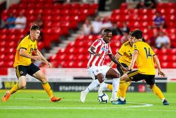 Saido Berahino of Stoke City takes on 3 Wolverhampton Wanderers players - Mandatory by-line: Robbie Stephenson/JMP - 25/07/2018 - FOOTBALL - Bet365 Stadium - Stoke-on-Trent, England - Stoke City v Wolverhampton Wanderers - Pre-season friendly