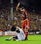 Jamie Carragher gets frustrated with Aston Villa's Ashley Young during the Barclays Premier League match between Liverpool and Aston Villa at Anfield on August 24, 2009 in Liverpool, England.