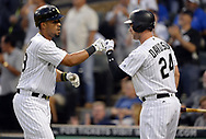CHICAGO - JULY 27:  Jose Abreu #79 celebrates with Matt Davidson #24 of the Chicago White Sox after Abreu hit a home run against the Chicago Cubs on July 27, 2017 at Guaranteed Rate Field in Chicago, Illinois.  (Photo by Ron Vesely) Subject:   Jose Abreu; Matt Davidson