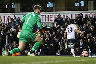 Etienne Capoue of Tottenham Hotspur (right) celebrates scoring his team's second goal to make it 2-2 during the FA Cup match at White Hart Lane, London<br /> Picture by David Horn/Focus Images Ltd +44 7545 970036<br /> 14/01/2015