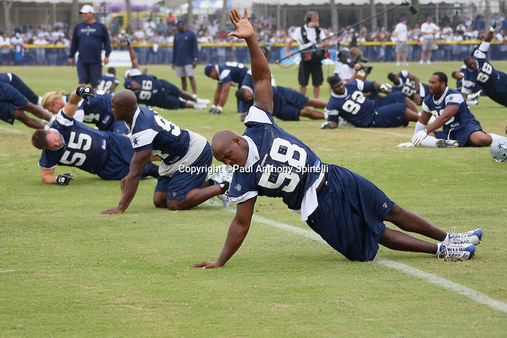 OXNARD, CA - AUGUST 01:  General view of linebacker Tyson Smith #58 of the Dallas Cowboys as they stretch before practice during the 2008 Dallas Cowboys Training Camp at River Ridge Field in Oxnard, California on August 1, 2008. ©Paul Anthony Spinelli *** Local Caption *** Tyson Smith