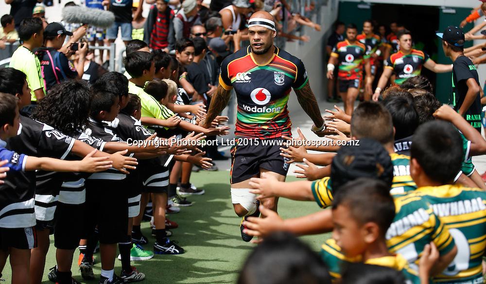 Warrior's Sam Rapira runs out. NRL trial match, Vodafone Warriors vs Penrith Panthers, International Stadium, Rotorua, New Zealand. Saturday, 14 February, 2015. Photo: John Cowpland / www.photosport.co.nz