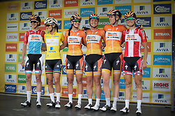 The Boels-Dolmans Cycling Team appear on the sign-on podium before the start of the Aviva Women's Tour 2016 - Stage 4. A 119.2 km road race from Nottingham to Stoke-on-Trent, UK on June 18th 2016.