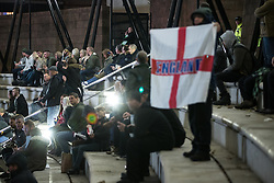 "© Licensed to London News Pictures . 03/11/2017 . Manchester , UK . Hundreds of fans of Tommy Robinson (real name Stephen Yaxley-Lennon ) at the launch of the former EDL leader's book "" Mohammed's Koran "" at Castlefield Bowl . Originally planned as a ticket-only event at Bowlers Exhibition Centre , the launch was moved at short notice to a public location in the city . Photo credit : Joel Goodman/LNP"