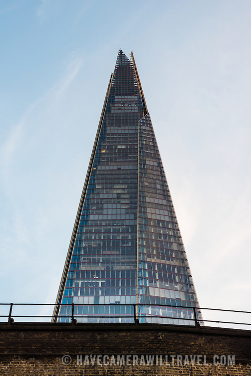 The tip of The Shard in London, the tallest building in the European Union.