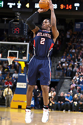 February 25, 2011; Oakland, CA, USA;  Atlanta Hawks shooting guard Joe Johnson (2) shoots a jump shot against the Golden State Warriors  during the first quarter at Oracle Arena. Atlanta defeated Golden State 95-79.