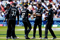 Trent Boult of New Zealand celebrates with teammates after taking the wicket of Aaron Finch of Australia - Mandatory by-line: Robbie Stephenson/JMP - 29/06/2019 - CRICKET - Lords - London, England - New Zealand v Australia - ICC Cricket World Cup 2019 - Group Stage