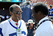 "(L-R) Former Los Angeles Rams defensive lineman Roosevelt ""Rosey"" Grier talks to former NFL player and current day sports analyst Jim Hill before the Los Angeles Rams 2016 NFL preseason football game against the Dallas Cowboys on Saturday, Aug. 13, 2016 in Los Angeles. The Rams won the game 28-24. (©Paul Anthony Spinelli)"