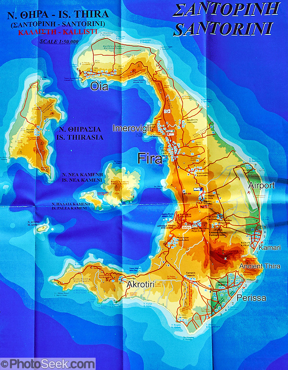 Map of Santorini Island, Aegean Sea, Greece, Europe. Geologic and human history of Santorini: Humans first arrived around 3000 BC on this volcano known in ancient times as Thira (or Thera). The island was a volcanic cone with a circular shoreline until 1646 BC, when one of earths most violent explosions blasted ash all over the Mediterranean, sunk the center of the island, launched tidal waves, and may have ruined the Minoan civilization 70 miles away on Crete. Remarkably, volcanic ash dumped onto the volcanos flanks actually preserved the village of Akrotiri and its 3600-year-old frescoes from the Minoan era. These are some of the earliest known examples of world art history, which you can now view in museums. In 286 BC, the volcano split off Thirasia (Little Thira) Island (to the West). The volcano began rebuilding, and in 197 BC the small center islet of Palia Kameni appeared. In 1707 CE, lava started forming Nea Kameni, the larger center island which erupted as recently as 1956 and caused a huge earthquake (7.8 on the Richter scale) which destroyed most of the houses in the towns of Fira and Oia. Fira and Oia have since been rebuilt as multi-level mazes of fascinating whitewashed architecture, attracting tourists from around the world.