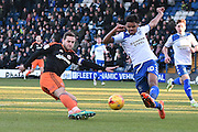 Sheffield United Forward, Billy Sharp (10) and Bury Defender, Jacob Bedeau (30) during the EFL Sky Bet League 1 match between Bury and Sheffield Utd at the JD Stadium, Bury, England on 2 January 2017. Photo by Mark Pollitt.
