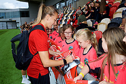 NEWPORT, WALES - Thursday, August 30, 2018: Wales' Kayleigh Green signs autographs for young supporters after a training session at Rodney Parade ahead of the final FIFA Women's World Cup 2019 Qualifying Round Group 1 match against England. (Pic by David Rawcliffe/Propaganda)