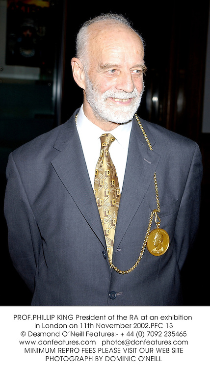 PROF.PHILLIP KING President of the RA at an exhibition in London on 11th November 2002.	PFC 13