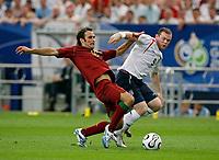 Photo: Glyn Thomas.<br />England v Portugal. Quarter Finals, FIFA World Cup 2006. 01/07/2006.<br /> England's Wayne Rooney (R) and Portugal's Ricardo Carvalho.