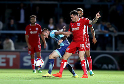 Michael Harriman of Wycombe Wanderers goes past Lee Tomlin of Bristol City - Mandatory by-line: Robbie Stephenson/JMP - 09/08/2016 - FOOTBALL - Adams Park - High Wycombe, England - Wycombe Wanderers v Bristol City - EFL League Cup