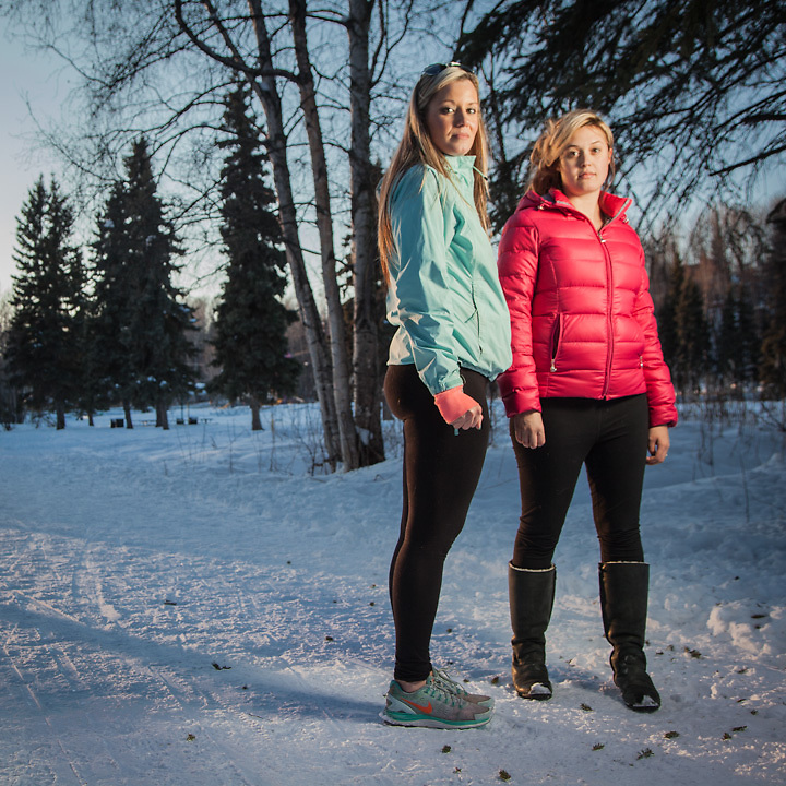 "Real estate agent Hannah Tweit and flight attenant Katie Bee on the bike path near Valley of the Moon, Anchorage  ""We have known eachother since middle school…we're planning a trip to Las Vegas.""  hetweit@gmail.com"