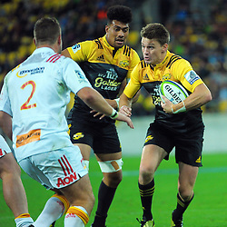 Beauden Barrett in action during the Super Rugby match between the Hurricanes and Chiefs at Westpac Stadium, Wellington, New Zealand on Saturday, 23 April 2016. Photo: Dave Lintott / lintottphoto.co.nz