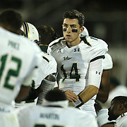 South Florida Bulls quarterback Mike White (14) on the sidelines during an NCAA football game between the South Florida Bulls and the 17th ranked University of Central Florida Knights at Bright House Networks Stadium on Friday, November 29, 2013 in Orlando, Florida. (AP Photo/Alex Menendez)