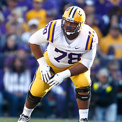 November 17, 2012; Baton Rouge, LA, USA  LSU Tigers offensive tackle Vadal Alexander (78) against the Ole Miss Rebels during a game at Tiger Stadium. LSU defeated Ole Miss 41-35. Mandatory Credit: Derick E. Hingle-US PRESSWIRE
