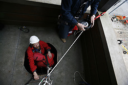 UK ENGLAND GREENFIELD 21MAR12 - Casualty rescue scenario using  Sala R500 auto-descender at Capital Safety training facility in Greenfield, Greater Manchester...jre/Photo by Jiri Rezac..© Jiri Rezac 2012