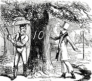 Albert (1819-1861) Consort of Queen Victoria from 1840. Albert being urged to think before felling trees in Hyde Park to make way for the Crystal Palace and the Great Exhibition of 1851. From 'Punch', London 1850