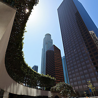 Photo of Los Angeles downtown restaurant and office buildings in Southern California in the United States.