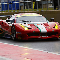 The no.61 AF Corse Ferrari 458 Italia GTE Am of South African Gerber/Griffin/Cioci makes its way down the pit lane, FIA WEC 2013 6h Silverstone