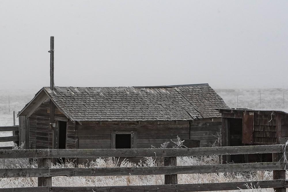 A frosty barn near Burns, Wyoming, on Friday, Feb. 9, 2018.