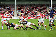 Japan's Michael Leitch powers towards the try line during the Rugby World Cup Pool B match between Scotland and Japan at the Kingsholm Stadium, Gloucester, United Kingdom on 23 September 2015. Photo by Shane Healey.