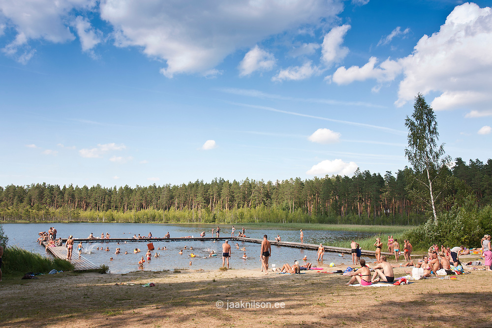 Sunbathers by Lake Palojärv in Põlva County, Estonia, Europe
