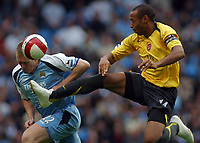 Photo: Paul Thomas.<br /> Manchester City v Arsenal. The Barclays Premiership. 26/08/2006.<br /> <br /> Both captains meet Thierry Henry of Arsenal (R) and Richard Dunne.