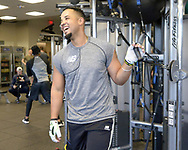 GLENDALE, ARIZONA - FEBRUARY 19: Jose Abreu #79 of the Chicago White Sox exercises during spring training workouts on February 19, 2019 at Camelback Ranch in Glendale Arizona.  (Photo by Ron Vesely). Subject:   Jose Abreu