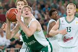 Zoran Dragic of Krka & Sasu Salin and Jaka Blazic of Union Olimpija during basketball match between KK Union Olimpija and KK Krka in 4nd Final match of Telemach Slovenian Champion League 2011/12, on May 24, 2012 in Arena Stozice, Ljubljana, Slovenia. Krka defeated Union Olimpija 65-55. (Photo by Grega Valancic / Sportida.com)