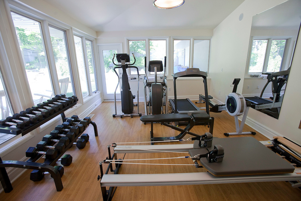 Stratford, Ontario ---10-05-20--- The home of Des McAnuff, the Stratford Festival's Artistic Director, and his partner Bryna McCann has a fully equipped gym.<br /> GEOFF ROBINS The Globe and Mail