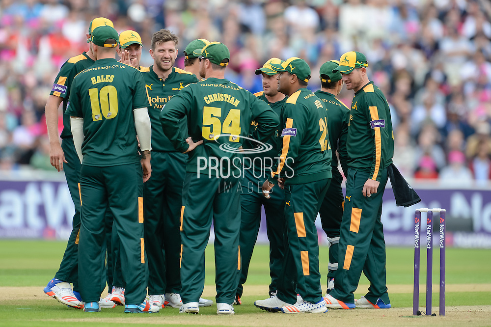 Harry Gurney of Notts Outlaws and team mates celebrate the wicket of Josh Cobb of Northants Steelbacks during the NatWest T20 Blast Semi Final match between Nottinghamshire County Cricket Club and Northamptonshire County Cricket Club at Edgbaston, Birmingham, United Kingdom on 20 August 2016. Photo by David Vokes.