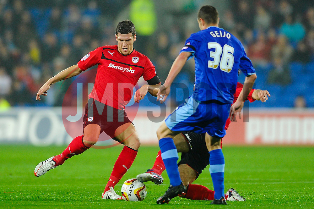 Cardiff Defender Mark Hudson (ENG) in action during the first half of the match - Photo mandatory by-line: Rogan Thomson/JMP - Tel: Mobile: 07966 386802 23/10/2012 - SPORT - FOOTBALL - Cardiff City Stadium - Cardiff. Cardiff City v Watford - Football League Championship