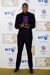 Super-heavyweight Anthony Joshua during the BT Olympic Ball, held at the Grosvenor Hotel, London, UK, November 30, 2012. Photo By Anthony Upton / i-Images.