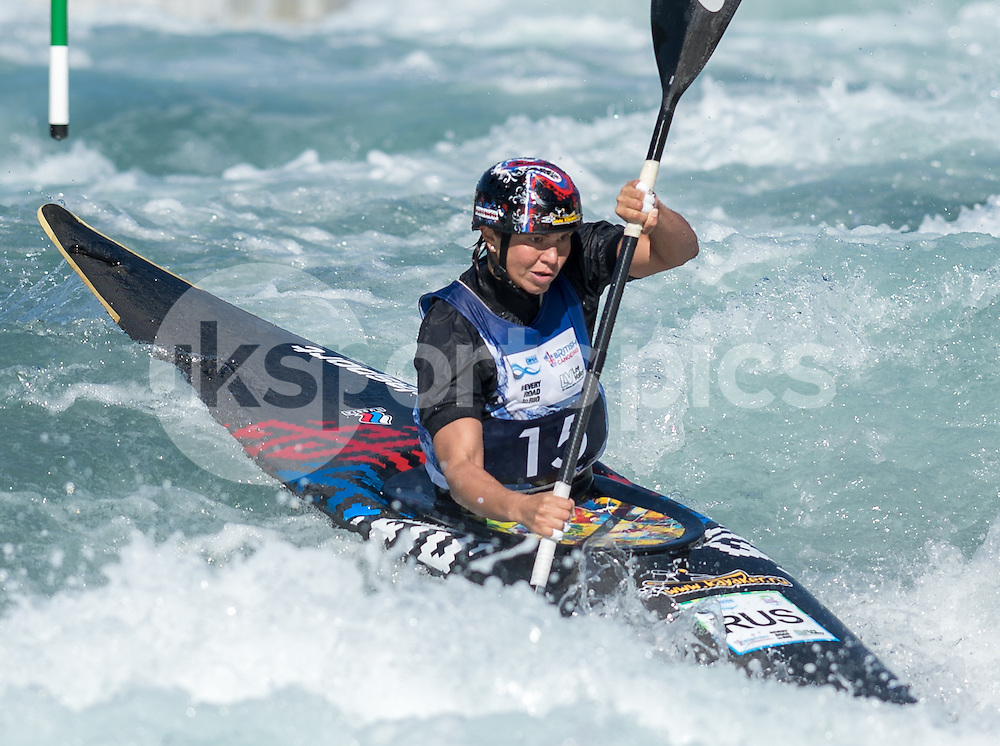 Marta Kharitonova of Russia competes in the K1 during the ICF Canoe Slalom World Championship 2015 at Lee Valley White Water Centre, London, United Kingdom on 19 September 2015. Photo by Vince  Mignott.