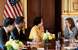 March 27, 2019 - Speaker of the US House of Representatives Nancy Pelosi met former HK No.2 deputy, retired Chief Secretary of HKSAR, Anson Chan ( centre )  in Washington.( Credit as : Handout by Civic Party HK via ZUMA ) Mar-28,2019 Hong Kong.ZUMALiau Chung-ren (Credit Image: © Liau Chung-renZUMA Wire)