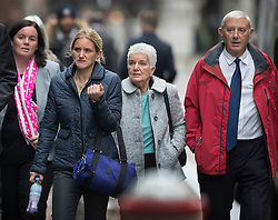 © Licensed to London News Pictures. 14/11/2016. London, UK. Gordon Leadbeater (R) father of murdered MP Jo Cox attends the trial of defendent Thomas Mair at The Old Bailey with Jo's sister Kim Leadbeater (2L) and mother Jean Leadbeater (2R). Mair allegedly shot and stabbed the 41-year-old Member of Parliament outside her constituency surgery in Birstall, near Leeds, Yorkshire on June 16 this year. Photo credit: Peter Macdiarmid/LNP