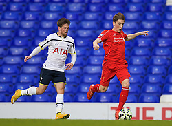 LONDON, ENGLAND - Friday, April 17, 2015: Liverpool's Harry Wilson in action against Tottenham Hotspur's Kenny McEvoy during the Under 21 FA Premier League match at White Hart Lane. (Pic by David Rawcliffe/Propaganda)