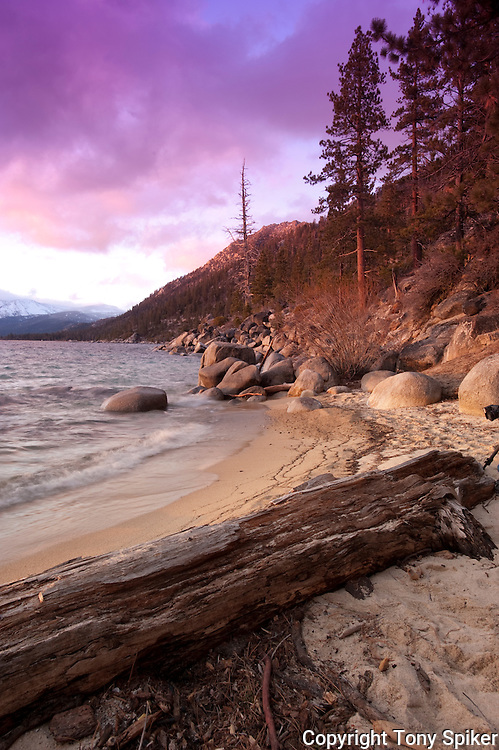"""Thunderbird Beach Sunset 3"" - The sun sets as a storm clears over a beach by Thunderbird Lodge, on the Eastern shore of Lake Tahoe"