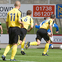 St Johnstone v Livingston...02.08.08<br /> Paul Sheerin scores from the penalty spot<br /> Picture by Graeme Hart.<br /> Copyright Perthshire Picture Agency<br /> Tel: 01738 623350  Mobile: 07990 594431