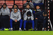 Chelsea assistant manager Gianfranco Zola can't look as his team trails 3-0 during the Premier League match between Bournemouth and Chelsea at the Vitality Stadium, Bournemouth, England on 30 January 2019.
