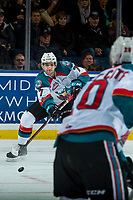 KELOWNA, CANADA - FEBRUARY 24: Libor Zabransky #7 of the Kelowna Rockets skates from behind the net with the puck against the Kamloops Blazers  on February 24, 2018 at Prospera Place in Kelowna, British Columbia, Canada.  (Photo by Marissa Baecker/Shoot the Breeze)  *** Local Caption ***
