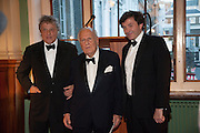 SIR TOM STOPPARD; SIR JOHN RICHARDSON; NICKY DUNNE, The London Library Annual  Life in Literature Award 2013 sponsored by Heywood Hill. The London Library Annual Literary dinner. London Library. St. james's Sq. London. 16 May 2013.