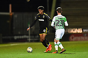 Callum Kennedy (23) of AFC Wimbledon on the attack during the EFL Trophy match between Yeovil Town and AFC Wimbledon at Huish Park, Yeovil, England on 5 December 2017. Photo by Graham Hunt.
