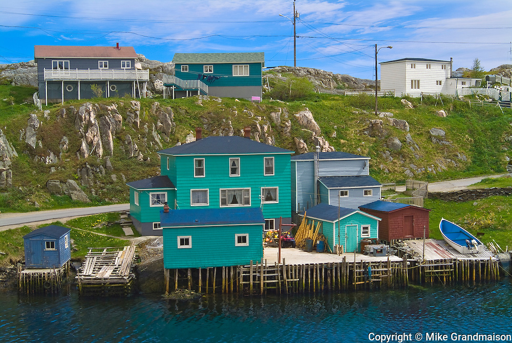 colorful houses in coastal village<br /> Rose Blanche<br /> Newfoundland<br /> Canada