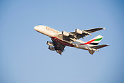 Dubai 2005, 9th International Aerospace Exhibition..First appearance of the new Airbus A380 in the Middle East and in the livery of its biggest buyer Emirates Airlines (45 planes ordered to date)..Flying display demonstrating astounding manoeuverability of the immense plane.